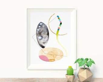 Original minimalist painting, abstract painting, geometric minimalist art, modern wall art, yellow pink, original abstract painting