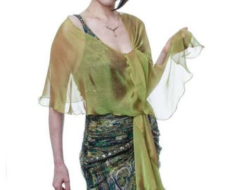 Promo Sale: Lime/ Gold Silk Fluttering Scarf - Wrap