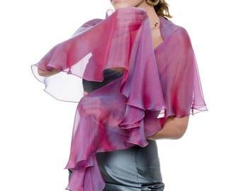 Promo Sale: Evening Ruspberry - Blue silk chiffon scarf wrap