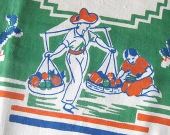 "Vintage Tablecloth Mexican Theme Table Linen / Orange Green Blue / Old California Western Theme / Cactus / Ranch Life / Spanish Decor / 50"""