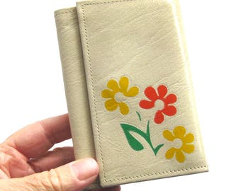 Vintage Ivory Leather MOD Wallet Clutch with Flowers / Genuine Cowhide Wallet / Billfold / Change Purse / ID Holder / Small Ladies Wallet
