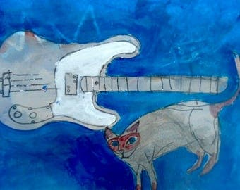 EMERY original painting 'my cat claims if she played bass it would be a 73 telecaster' outsider art folk cat music bass fender