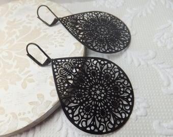 Black Boho Filligree Teardrop Pendant Earrings on nickel free black leverback hooks