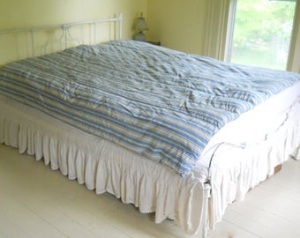 Vintage Feather Tick • Vintage Feather Tick Mattress Duvet • Blue Striped Feather Tick