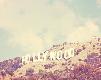 SALE Hollywood photography, Hollywood sign Los Angeles famous hill landmark celebrities stars travel vintage inspired retro blue Oscars 5x5