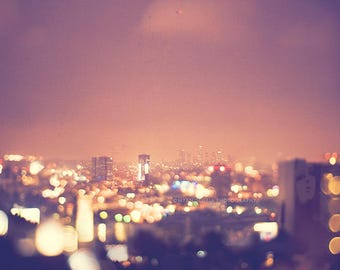 Los Angeles at night, LA photography, city lights Hollywood, downtown LA, cityscape skyline gold colorful bokeh art print, purple plum mauve