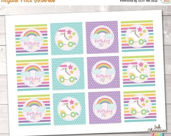 35% OFF SALE Roller Skating Party Cupcake Toppers Printable PDF - Instant Download