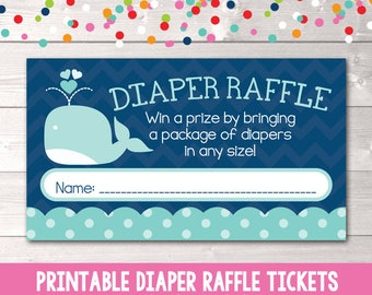 Blue Whale Printable Diaper Raffle Ticket Boys Baby Shower Game Instant Download PDF