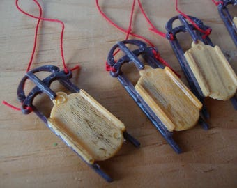 Mini Christmas sleds village diorama Santas sled ornaments Christmas crafts supplies kitsch