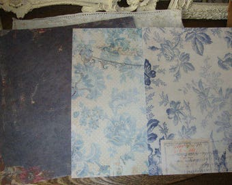 floral scrapbook paper shabby vintage scrapbooking romantic blue victorian style floral 12x12 paris chic gift wrap paper crafting supplies