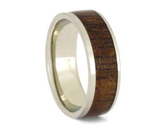 Rowan Wood Wedding Band, 14k White Gold Ring With Wooden Inlay, Handmade Wedding Band