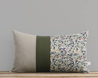 LIMITED EDITION: Wiltshire Leaf & Berry Liberty Print Pillow Cover by JillianReneDecor - Fall Lumbar Pillow, Olive Green, Sienna, Navy