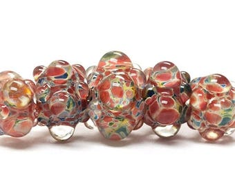 ON SALE 30% off Five Graduated OrangeRed & Green Rondelle Beads  Bubbly raised design. - Handmade Glass Lampwork Beads - 11005711