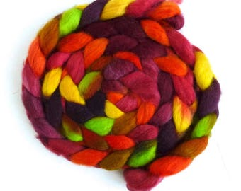 BFL Wool Roving - Hand Painted Spinning or Felting Fiber, Summer Tomatoes