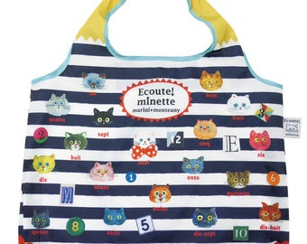 Eco bag, Grocery bag, Eco friendly market bag, Reusable market bag, folding bag.Kawaii bag,