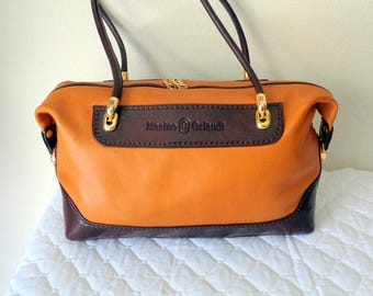 Marino Orlandi doctors bag, Boston bag, satchel, shoulder bag purse in honey  tan brown top zip shoulder bag MINT vintage