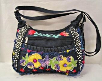 Denim bag, Upcycled denim bag, Shoulder bag, Crossbody bag, Bag with pockets