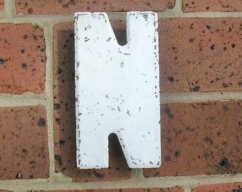 Vintage Metal Sign Metal Letter N Sign Vintage Letter N Old Rusty Letter N Antique Marquee Letter N Sign