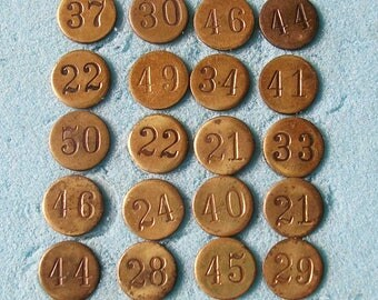 5 Vintage Brass Numbered Tacks Steampunk DIY Jewelry Tacks