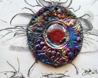 Viking Invasion  Medallion Copper Gold Blue Purple Copper  Primitive Round  Red Raku Cosplay Pendant