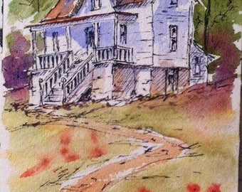 Old house homestead watercolour watercolor line and wash ink sketch
