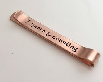 Hidden Message Tie Clip - Anniversary Gift - 7th Anniversary - Personalized Copper Tie Clip - Monogramed Tie Bar - 7 year anniversary