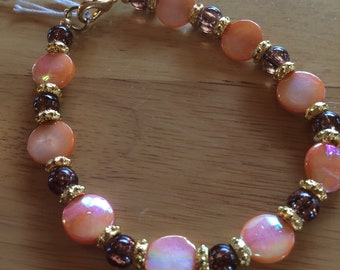 Coral Iridescent and Brown Beaded Bracelet