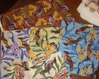 Clearance! 5 pieces of M & S Textiles Aboriginal Designs Australian Fabric birds and flora metallic detail - see description below