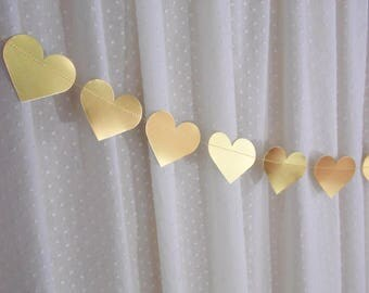 Metallic Gold Heart Garland, Gold Wedding Decor, Bridal Shower Banner, Gold Foil Heart Banner