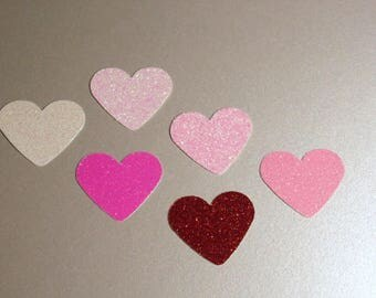 Valentine's Day Glitter Hearts, 50 per package, Table Scatter, Choose color Red, Pink, White, Lavender, Gold Glitter or Foil