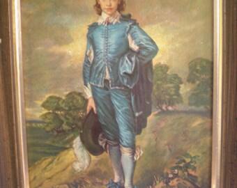 """Framed Art Print, Vintage Framed """"The Blue Boy"""", Framed Wall Art, Vintage Home Decor"""