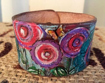 Geometric Floralscape- Leather stamped and handpainted cuff.
