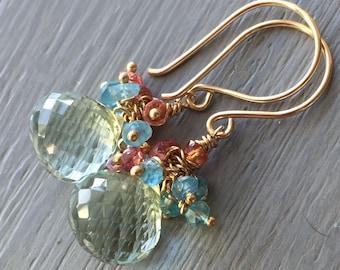Green Amethyst Gemstone Cluster Earrings