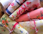 Fabric Bundle, French Florals, Vintage Fabric, Craft Fabric, Faded Floral Fabric, Floral Fabric Bundle, Fabric Scrap Pack, Destash, Fabric