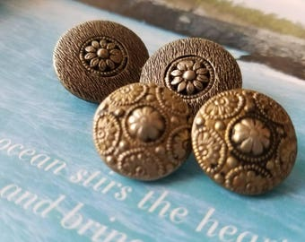Vintage Buttons -4 wonderful 2 matching sets, novelty metal filigree and pressed designs,(June 458 17)