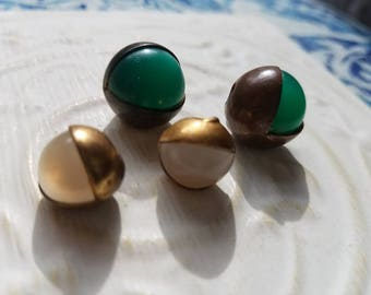 Vintage Buttons - 4 assorted  lucite center moonglow metal setting  (July 389 17)