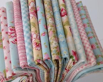 FLEURS AMBLESIDE Brenda Riddle Shabby Chic Moda Fabric ~ 14 fat quarters bundle ~ 3.5 yards total