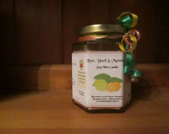 Lime, Basil & Mandarin Scented Soy Wax Candle 300g