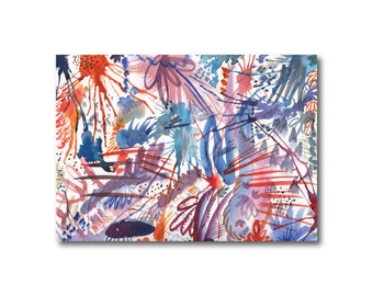 Abstract Painting, Watercolor Print, Abstract Art, Modern Art, Anemone Fireworks,