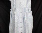 ON SALE Vintage Adele Fashions Pastel Stripe Floral Day Dress XL 1950s