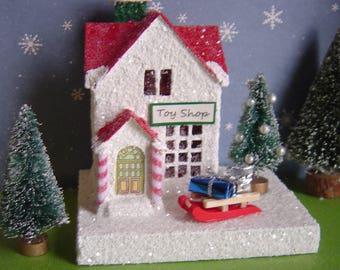 Toy Shop Christmas Village Putz style glitter house