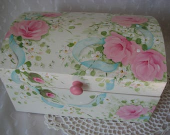 Wood Dome Box Hand Painted Pink Roses Cottage chic home decor Trinket Treasure