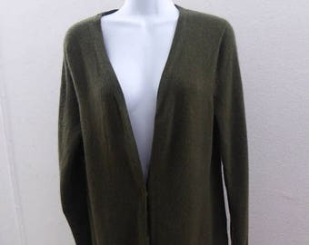 100% Cashmere Sweater Size L Olive Green Cardigan Womens McDuff 42 Chest Tunic