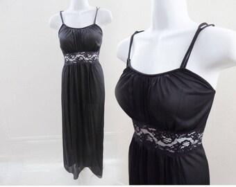50s Vintage Nightie Size M Black Lace Nylon Nightgown Negligee Vtg 60s Lingerie