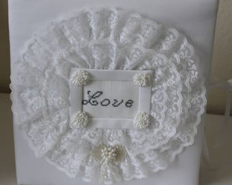 White Photo Album With Love in Lace On Front