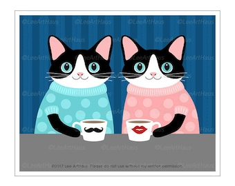341D Cat Prints - Black and White Cat Couple Drinking Coffee Wall Art - Coffee Wall Decor - Cat Gifts - Kitchen Art - Anniversary Gifts