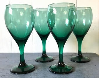 vintage green glasses - wine goblets - emerald jewel tone barware - boho wedding