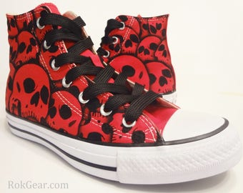 Skull Converse SALE - Red All Stars Chuck Taylor US Men 5.5 - US Women 7.5 Hand painted Skull shoes by RokGear