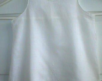 Baby Infant Dress Vintage Antique Sheer White Batiste Cotton Embroidered Christening