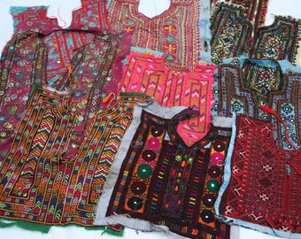 Kutchi Embroidered Fabric,Indian Banjara Yokes, Ethnic Quilting Scraps,5 pc Ass., Vintage Kutch, Kutchi Patch,Vintage Yoke, Quilting